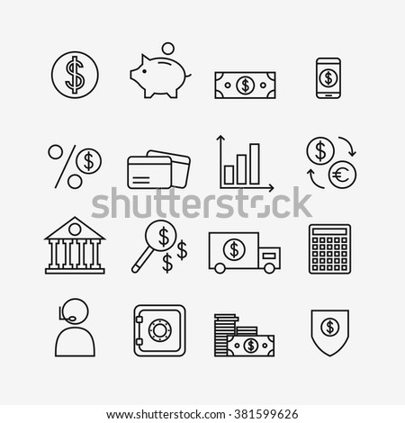 Finance icons isolated on background. Bank icons set. Money box, dollar, money exchange, mobile banking, credit card. Outline bank icons for web business. Flat line style illustration.