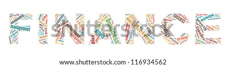 Finance in word collage - stock photo