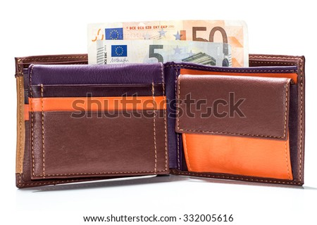finance, investment, saving and cash concept - close up of euro paper money in wallet isolated on white - stock photo