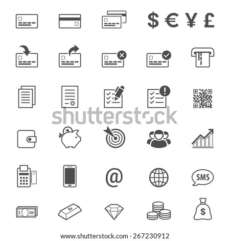 Finance, money and banking line style  icon set - stock photo