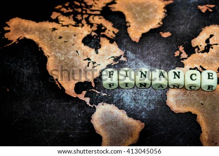 FINANCE on grunge world map