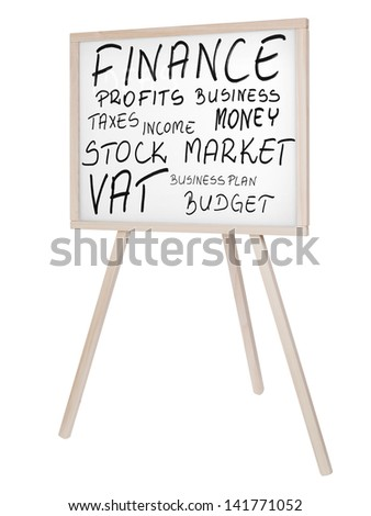 Finance related keywords on white board (magnetic board) isolated on white