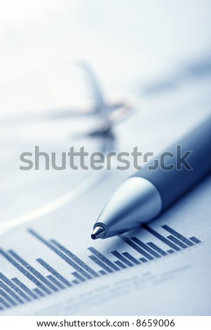 Finance report on the paper - stock photo