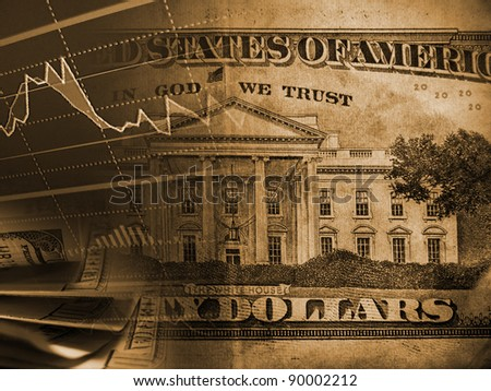 Finance system of USA background. Whitehouse and market data. - stock photo