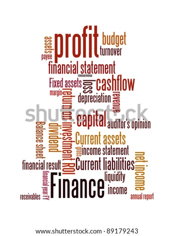 Finance terms and lingo info-text graphics and arrangement word clouds illustration concept - stock photo