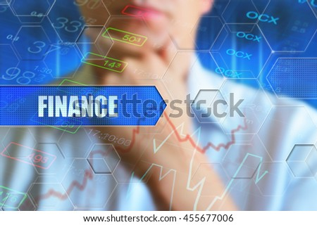 Finance title button. Finance concept. Person thinking before text button finance. High tech design background for finace, business theme. Question, businessman thinking scene.  - stock photo