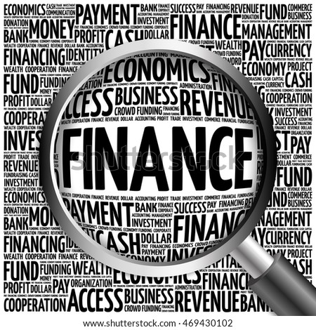 FINANCE word cloud with magnifying glass, business concept 3D illustration