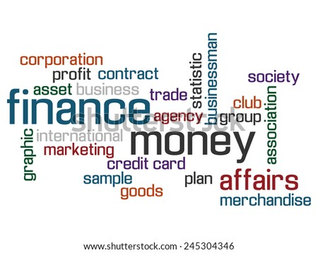 FINANCE WORLD CLOUD CONCEPT TEST AND MORE - stock photo
