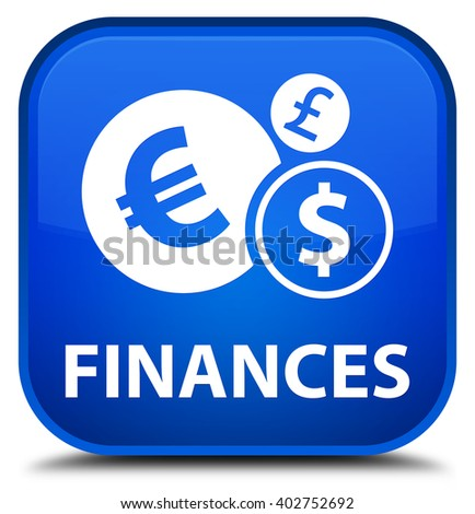 Finances (euro sign) blue square button - stock photo