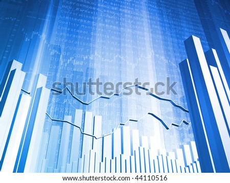 Financial Abstract Bar Chart with 3D Market Indicators