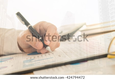 Financial ad-visor are data analysis. Business analysis concept  - stock photo