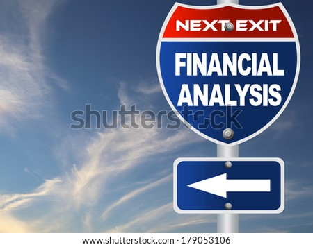 Financial analysis road sign - stock photo