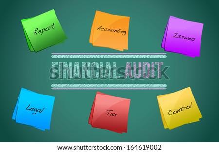 financial audit diagram illustration design over a blackboard - stock photo