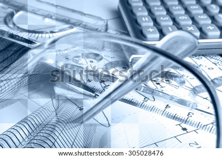 Financial background in blues with buildings, ruler, calculator and graph. - stock photo