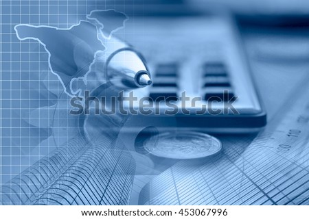 Financial background in blues with money, calculator, map and pen. - stock photo