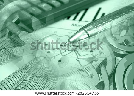 Financial background in greens with buildings, calculator, graph and pen. - stock photo