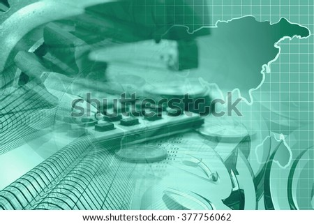 Financial background in greens with money, calculator, map and pen. - stock photo