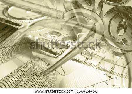 Financial background in sepia with buildings, ruler, graph and pen. - stock photo