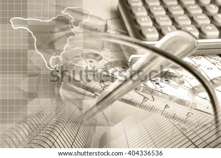 Financial background in sepia with map, calculator, graph, glasses and pen. - stock photo