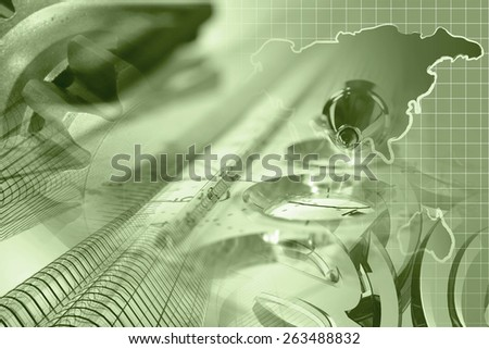 Financial background in sepia with map, gear, buildings, graph and pen. - stock photo