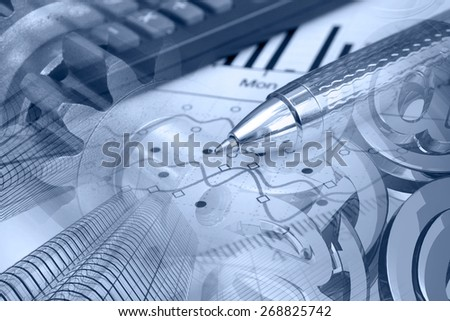 Financial background with buildings, calculator, graph and pen, blue toned. - stock photo