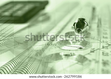 Financial background with buildings, calculator, graph and pen, in greens. - stock photo