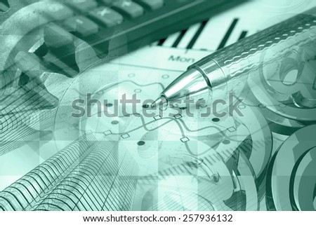 Financial background with buildings, graph, mail signs and pen, green toned. - stock photo