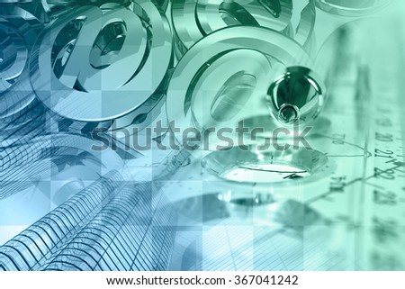 Financial background with mail signs, building, graph and pen, in greens and blues. - stock photo