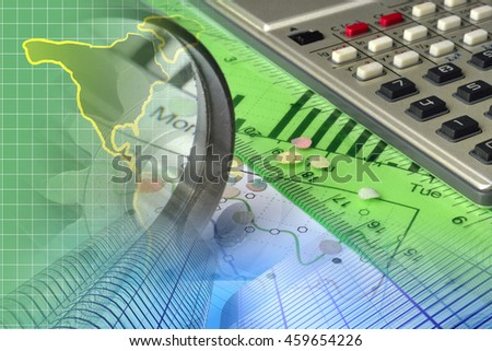 Financial background with map, calculator, graph and buildings. - stock photo