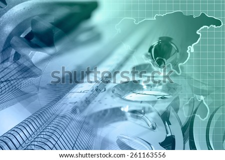 Financial background with map, gear, buildings, graph and pen - in greens and blues. - stock photo