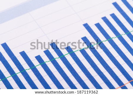 Financial bar chart graph analysis.