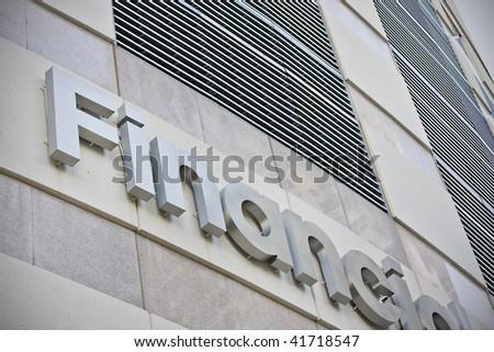 Financial building facade closeup - stock photo