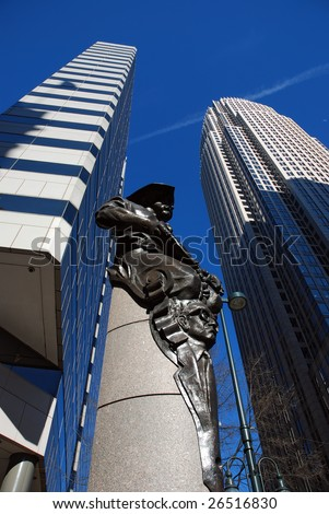 Financial buildings in Charlotte, North Carolina, USA - stock photo