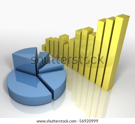 Financial Business Charts Concept 3D render of corporate financial concept - stock photo