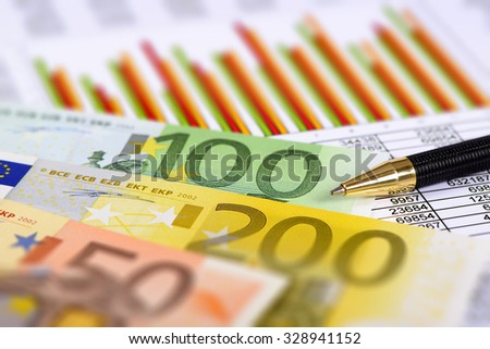 financial chart and Euro currency - stock photo