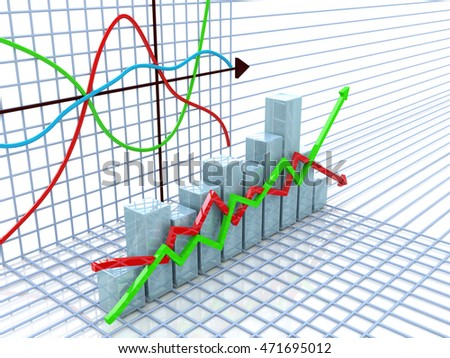 Financial chart and graph in the design of information related to business and economy. 3d illustration