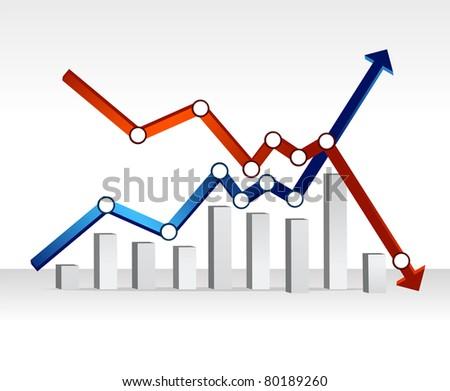 financial chart illustration design over a light gradient - stock photo