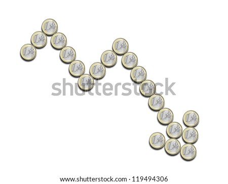 financial chart negative, done with euro coins, on a white background - stock photo