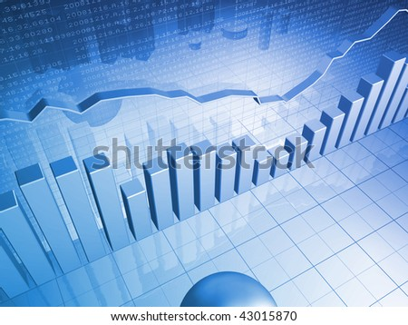 Financial Chart with Bar Charts - stock photo
