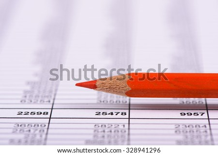 financial chart with red pencil - stock photo