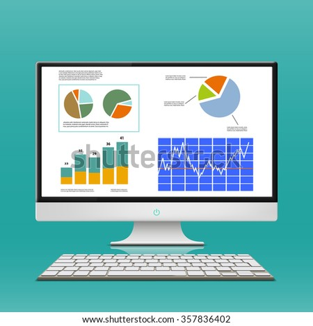 Financial charts and graphs on the computer monitor. Workplace broker. Stock illustration. - stock photo