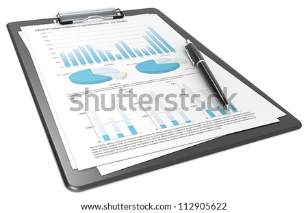 Financial. Clipboard with Papers and Pen. Graphs and Pie charts. Blue theme. - stock photo