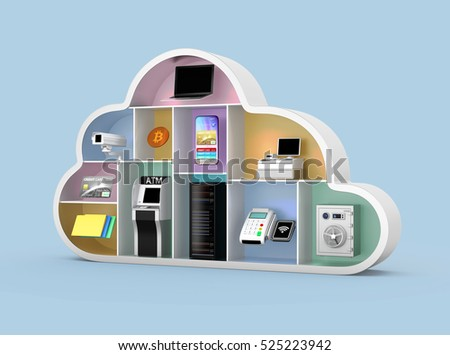 Financial cloud technology concept. 3D rendering image.