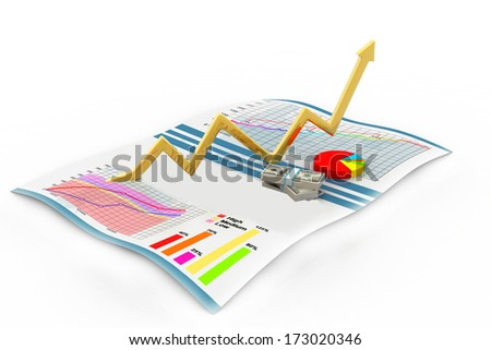 financial colorful charts - stock photo