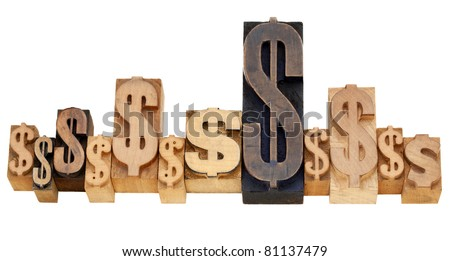 financial concept - a row of dollar signs - isolated vintage wood letterpress printing blocks