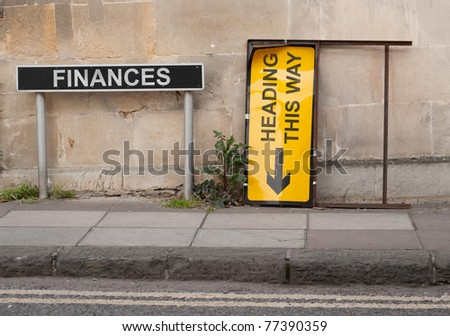 Financial concept involving British signage words - stock photo