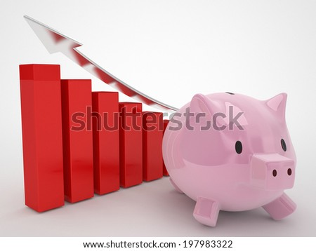 financial concept piggy bank and red graphics - stock photo
