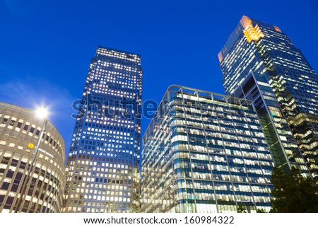 Financial Corporate building Skyscrapers in the Canary Wharf, City of London  - stock photo