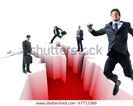 financial crack metaphore and business people - stock photo