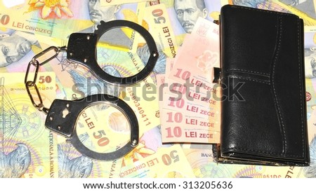 Financial crime concept with Romanian currency (lei) background - stock photo